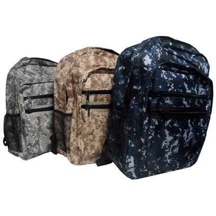 "17"" CAMO BACKPACK ASST"