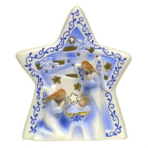 "7"" STAR W/ BABY JESUS VOTIVE HOLDER"