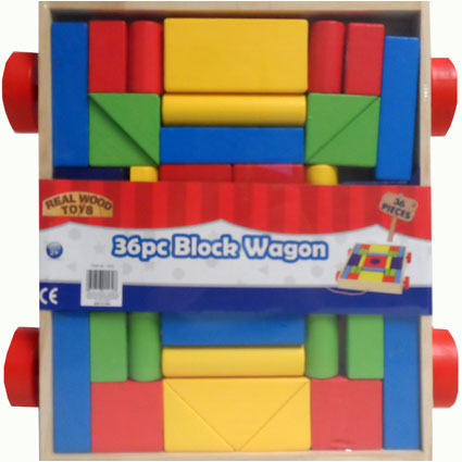 36 PC WOODEN BLOCK WAGON
