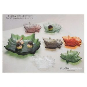 7PC COLORED LEAF PLATE SET