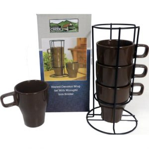 NESTED MUG SET W/ WROUGHT IRON HOLDER